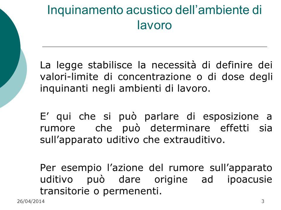 26/04/20143 Inquinamento acustico dellambiente di lavoro La legge stabilisce la necessità di definire dei valori-limite di concentrazione o di dose de