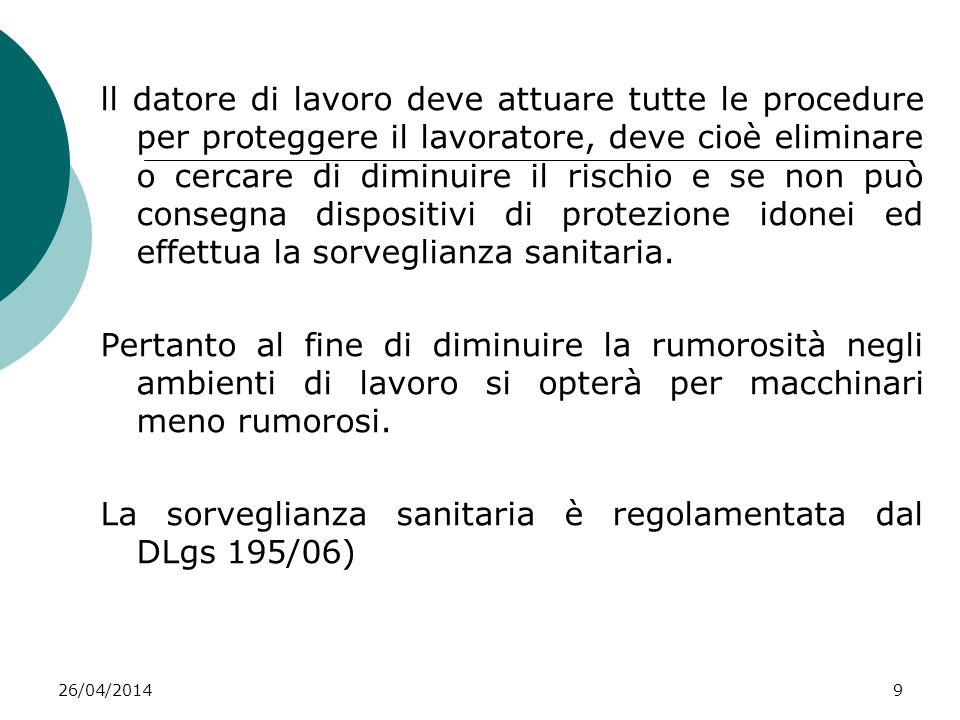 26/04/20149 Altre fonti di informazione ll datore di lavoro deve attuare tutte le procedure per proteggere il lavoratore, deve cioè eliminare o cercar