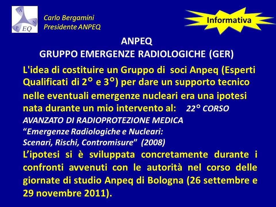 ANPEQ GRUPPO EMERGENZE RADIOLOGICHE (GER) L idea di costituire un Gruppo di soci Anpeq (Esperti Qualificati di 2° e 3°) per dare un supporto tecnico nelle eventuali emergenze nucleari era una ipotesi nata durante un mio intervento al: 22° CORSO AVANZATO DI RADIOPROTEZIONE MEDICA Emergenze Radiologiche e Nucleari: Scenari, Rischi, Contromisure (2008) Lipotesi si è sviluppata concretamente durante i confronti avvenuti con le autorità nel corso delle giornate di studio Anpeq di Bologna (26 settembre e 29 novembre 2011).