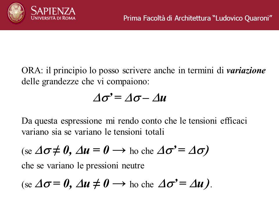 Prima Facoltà di Architettura Ludovico Quaroni ORA: il principio lo posso scrivere anche in termini di variazione delle grandezze che vi compaiono: =