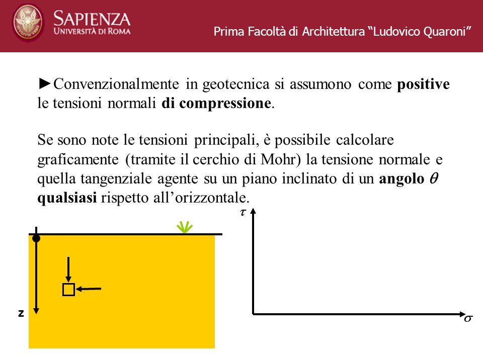 Prima Facoltà di Architettura Ludovico Quaroni Convenzionalmente in geotecnica si assumono come positive le tensioni normali di compressione. Se sono