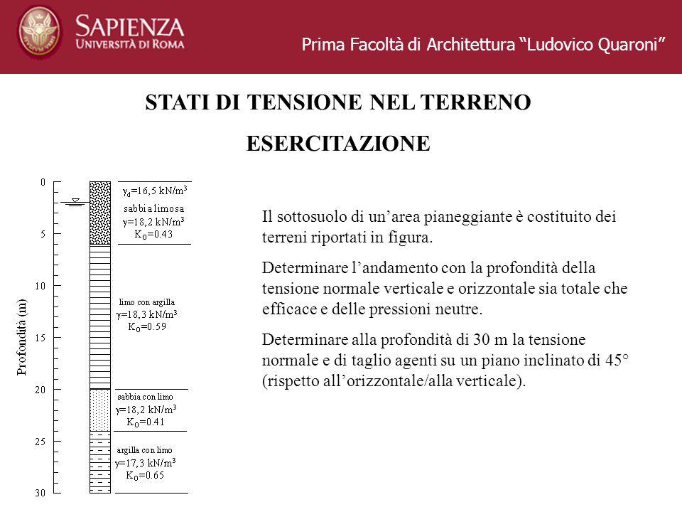 Prima Facoltà di Architettura Ludovico Quaroni STATI DI TENSIONE NEL TERRENO ESERCITAZIONE Il sottosuolo di unarea pianeggiante è costituito dei terre