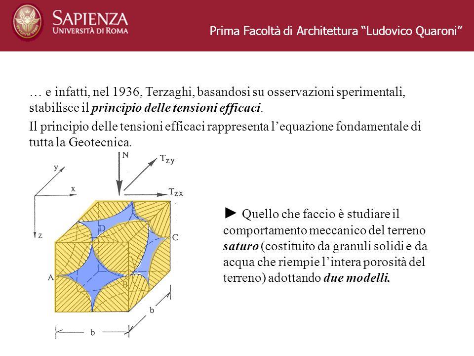 Prima Facoltà di Architettura Ludovico Quaroni … e infatti, nel 1936, Terzaghi, basandosi su osservazioni sperimentali, stabilisce il principio delle