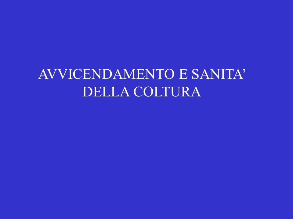AVVICENDAMENTO E SANITA DELLA COLTURA