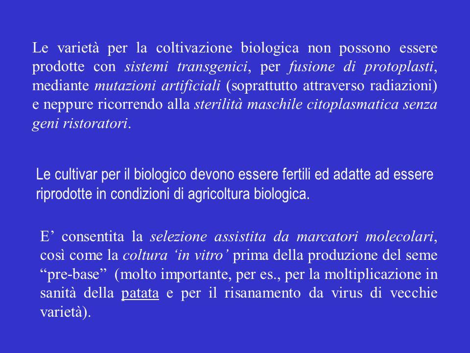 Le varietà per la coltivazione biologica non possono essere prodotte con sistemi transgenici, per fusione di protoplasti, mediante mutazioni artificia