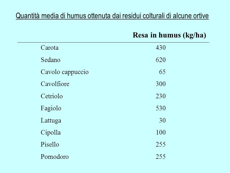 Quantità media di humus ottenuta dai residui colturali di alcune ortive Resa in humus (kg/ha) Carota430 Sedano620 Cavolo cappuccio 65 Cavolfiore300 Ce