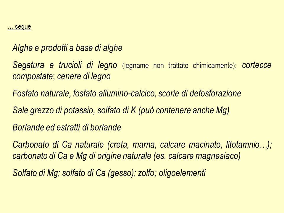 … segue Alghe e prodotti a base di alghe Segatura e trucioli di legno (legname non trattato chimicamente); cortecce compostate ; cenere di legno Fosfa