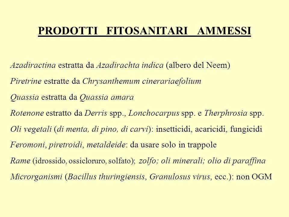 PRODOTTI FITOSANITARI AMMESSI Azadiractina estratta da Azadirachta indica (albero del Neem) Piretrine estratte da Chrysanthemum cinerariaefolium Quass