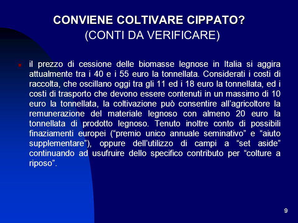 9 CONVIENE COLTIVARE CIPPATO? (CONTI DA VERIFICARE) il prezzo di cessione delle biomasse legnose in Italia si aggira attualmente tra i 40 e i 55 euro
