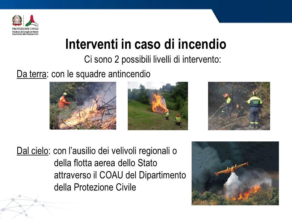 Ci sono 2 possibili livelli di intervento: Da terra: con le squadre antincendio Dal cielo: con lausilio dei velivoli regionali o della flotta aerea dello Stato attraverso il COAU del Dipartimento della Protezione Civile Interventi in caso di incendio