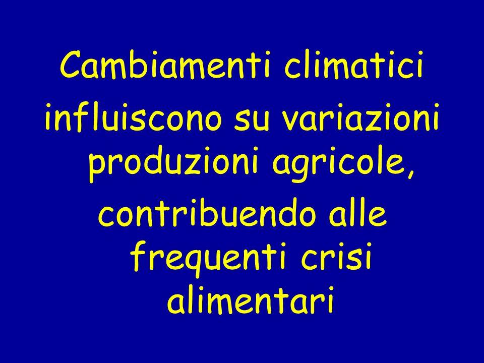 Cambiamenti climatici influiscono su variazioni produzioni agricole, contribuendo alle frequenti crisi alimentari