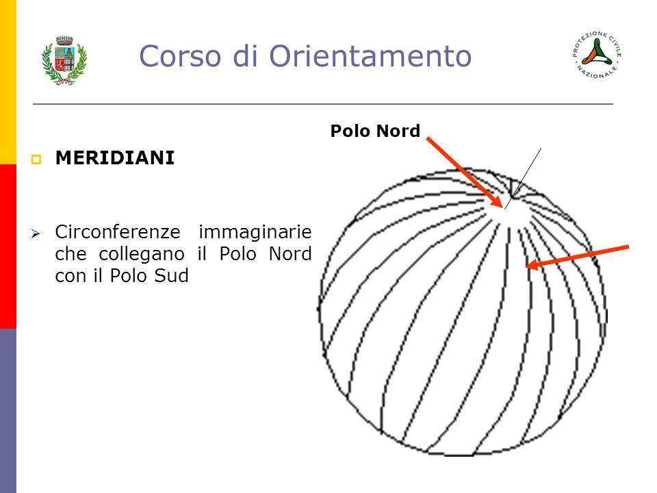 Corso di Orientamento MERIDIANI Circonferenze immaginarie che collegano il Polo Nord con il Polo Sud Polo Nord
