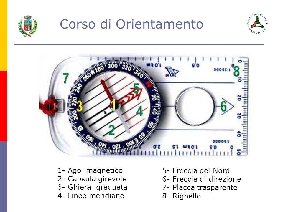 Corso di Orientamento 1- Ago magnetico 2- Capsula girevole 3- Ghiera graduata 4- Linee meridiane 5- Freccia del Nord 6- Freccia di direzione 7- Placca