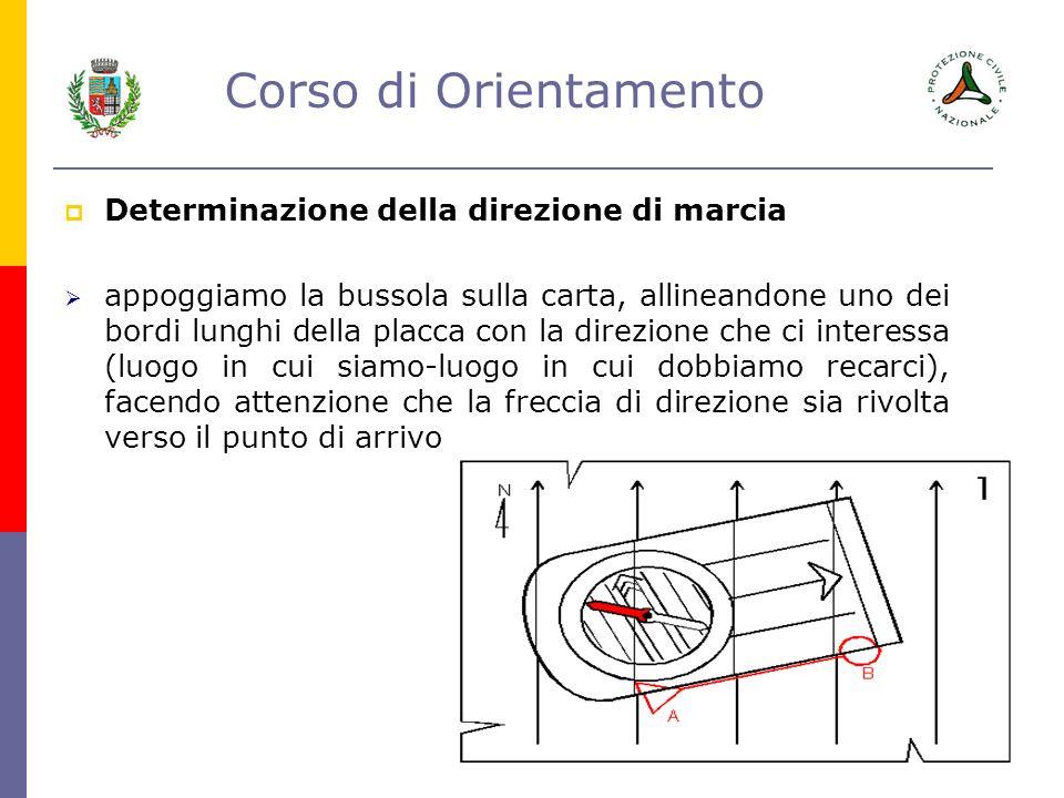 Corso di Orientamento Determinazione della direzione di marcia appoggiamo la bussola sulla carta, allineandone uno dei bordi lunghi della placca con l
