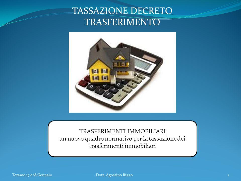 TRASFERIMENTI IMMOBILIARI un nuovo quadro normativo per la tassazione dei trasferimenti immobiliari Teramo 17 e 18 GennaioDott. Agostino Rizzo1 TASSAZ