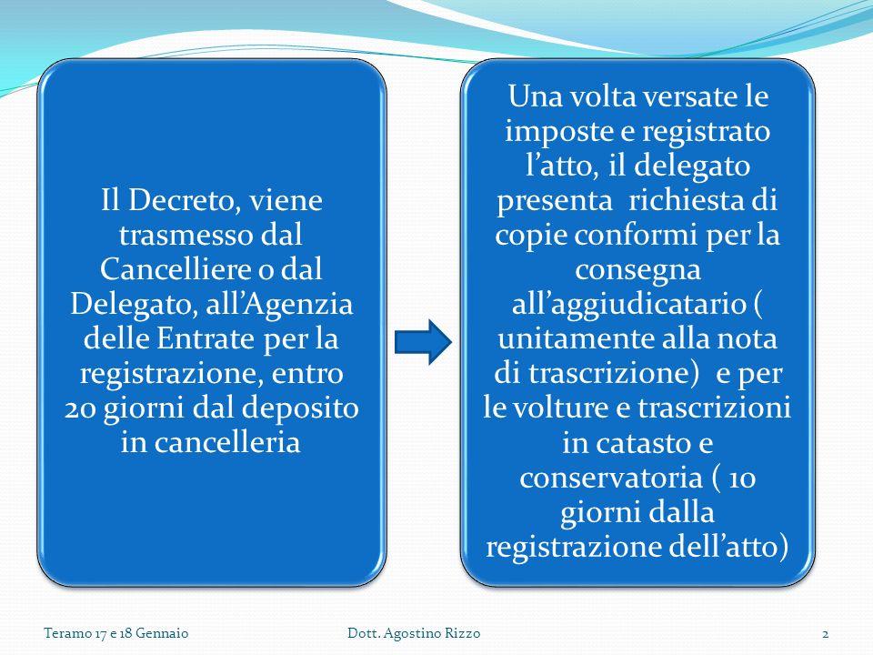 Il Decreto, viene trasmesso dal Cancelliere o dal Delegato, allAgenzia delle Entrate per la registrazione, entro 20 giorni dal deposito in cancelleria