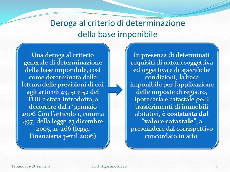 Deroga al criterio di determinazione della base imponibile Una deroga al criterio generale di determinazione della base imponibile, così come determin