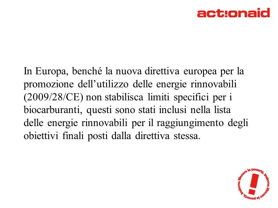 In Europa, benché la nuova direttiva europea per la promozione dellutilizzo delle energie rinnovabili (2009/28/CE) non stabilisca limiti specifici per i biocarburanti, questi sono stati inclusi nella lista delle energie rinnovabili per il raggiungimento degli obiettivi finali posti dalla direttiva stessa.