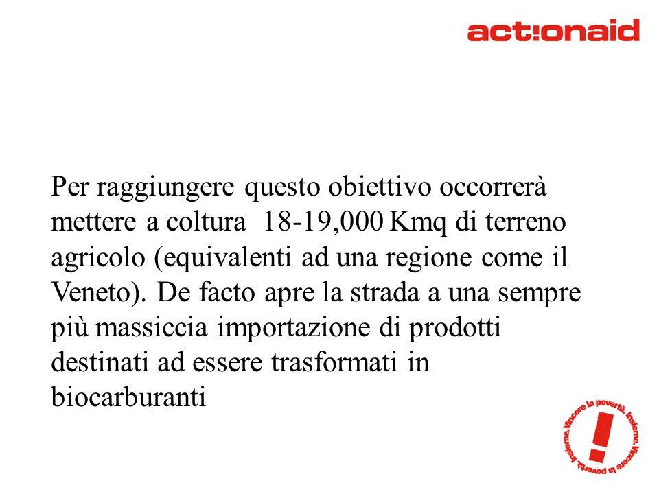 Per raggiungere questo obiettivo occorrerà mettere a coltura 18-19,000 Kmq di terreno agricolo (equivalenti ad una regione come il Veneto).