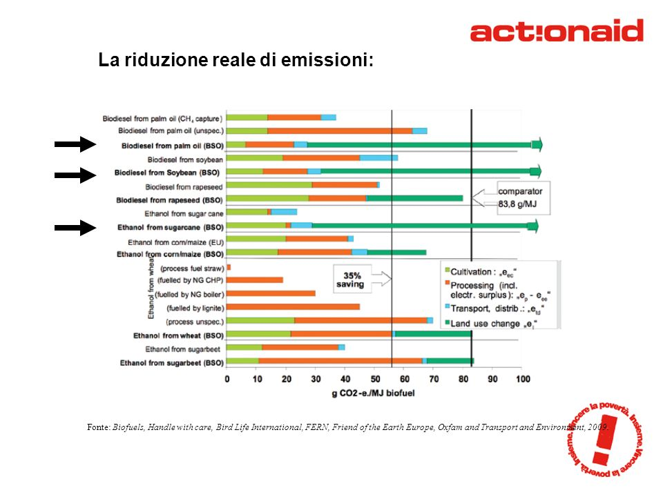 La riduzione reale di emissioni: Fonte: Biofuels, Handle with care, Bird Life International, FERN, Friend of the Earth Europe, Oxfam and Transport and