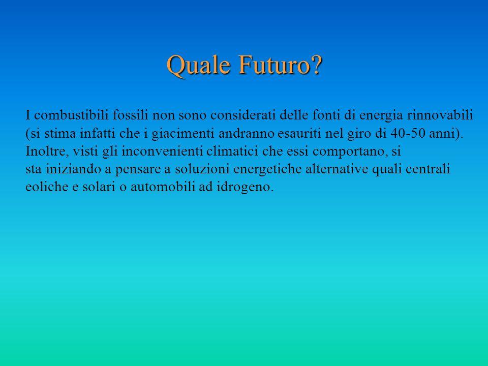 Quale Futuro? I combustibili fossili non sono considerati delle fonti di energia rinnovabili (si stima infatti che i giacimenti andranno esauriti nel