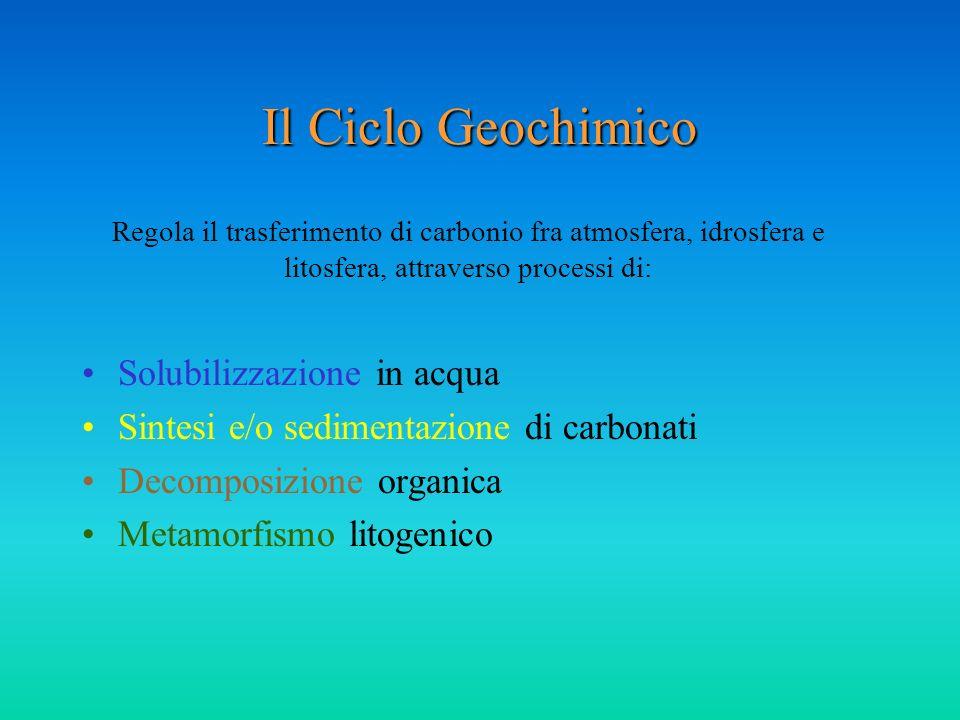 Il Ciclo Geochimico Solubilizzazione in acqua Sintesi e/o sedimentazione di carbonati Decomposizione organica Metamorfismo litogenico Regola il trasfe