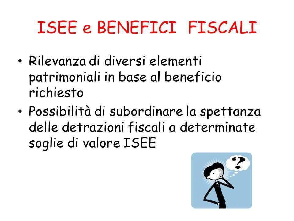 ISEE e BENEFICI FISCALI Rilevanza di diversi elementi patrimoniali in base al beneficio richiesto Possibilità di subordinare la spettanza delle detrazioni fiscali a determinate soglie di valore ISEE