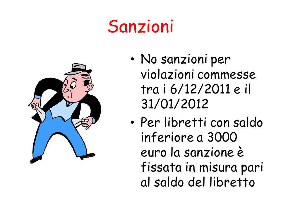 Sanzioni No sanzioni per violazioni commesse tra i 6/12/2011 e il 31/01/2012 Per libretti con saldo inferiore a 3000 euro la sanzione è fissata in misura pari al saldo del libretto