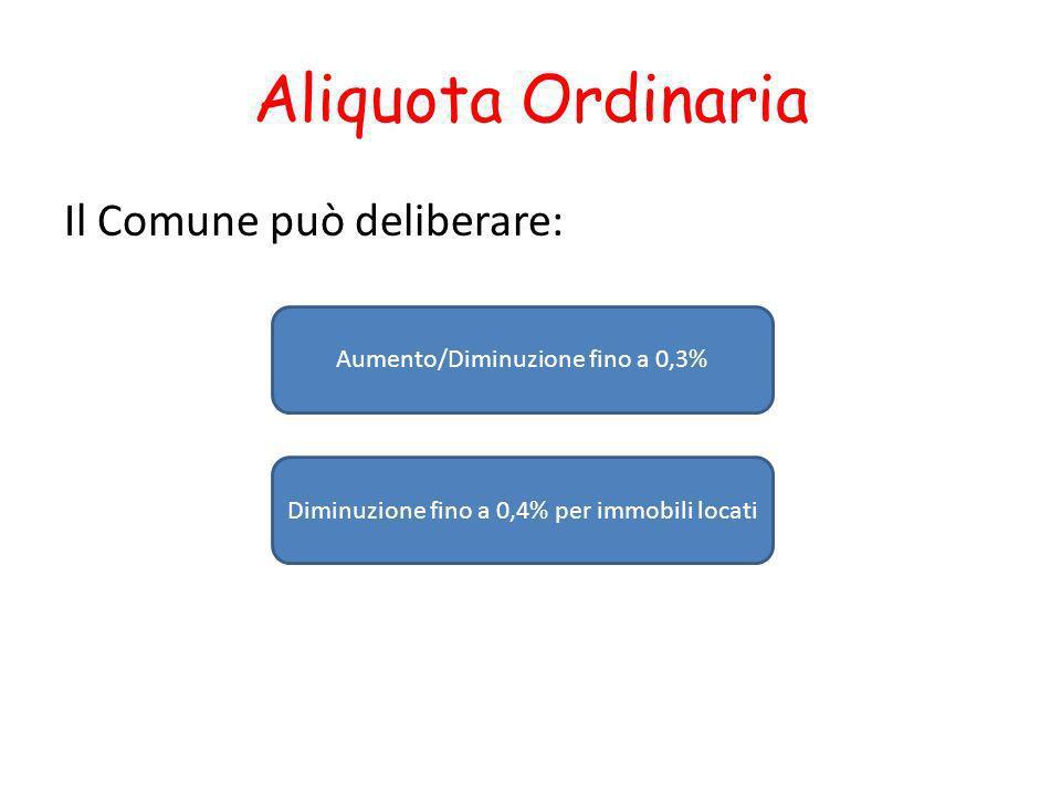Aliquota Ordinaria Il Comune può deliberare: Aumento/Diminuzione fino a 0,3% Diminuzione fino a 0,4% per immobili locati