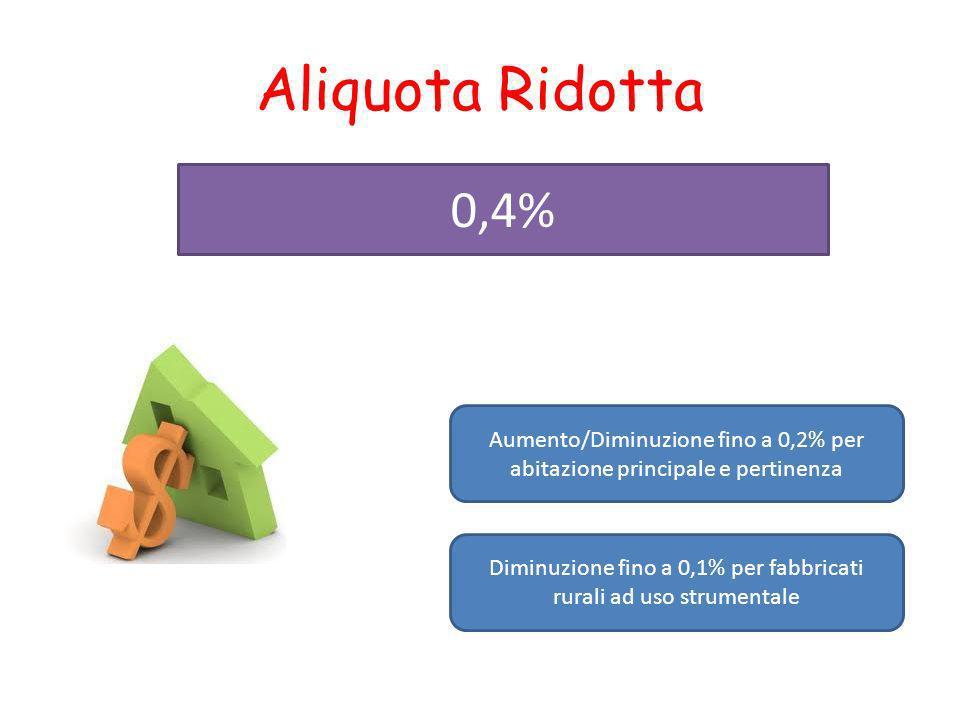 Aliquota Ridotta Aumento/Diminuzione fino a 0,2% per abitazione principale e pertinenza Diminuzione fino a 0,1% per fabbricati rurali ad uso strumentale 0,4%