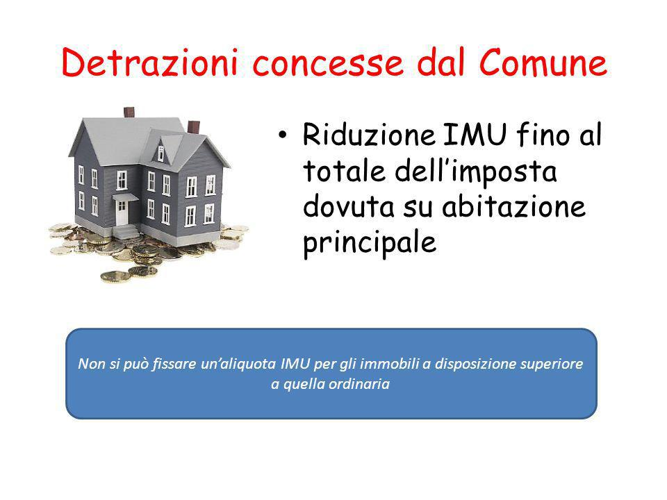 Detrazioni concesse dal Comune Riduzione IMU fino al totale dellimposta dovuta su abitazione principale Non si può fissare unaliquota IMU per gli immobili a disposizione superiore a quella ordinaria
