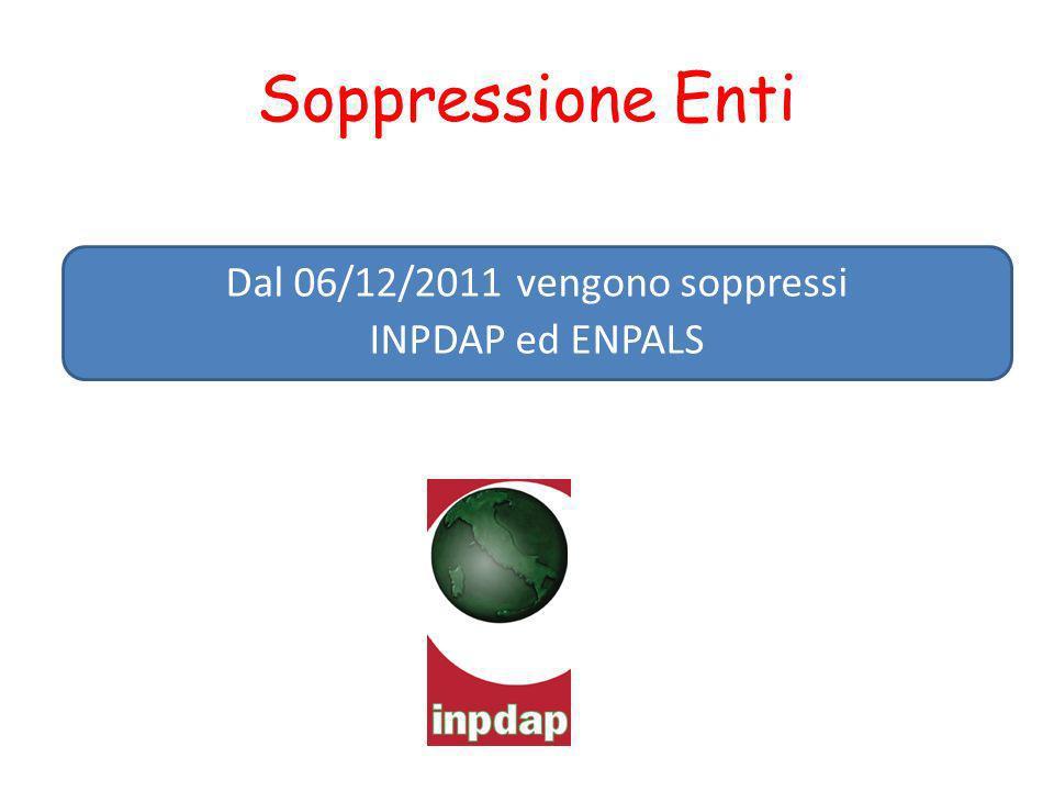 Soppressione Enti Dal 06/12/2011 vengono soppressi INPDAP ed ENPALS