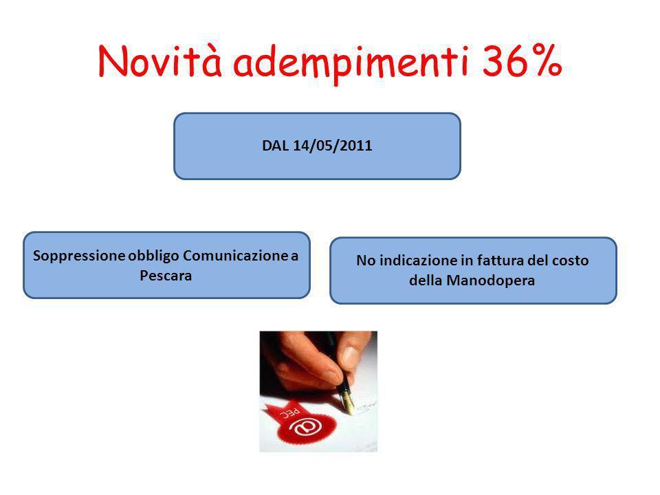 Novità adempimenti 36% DAL 14/05/2011 Soppressione obbligo Comunicazione a Pescara No indicazione in fattura del costo della Manodopera