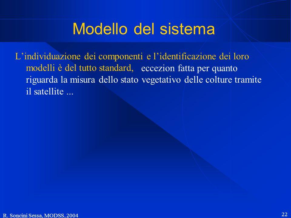 R. Soncini Sessa, MODSS, 2004 22 Modello del sistema Lindividuazione dei componenti e lidentificazione dei loro modelli è del tutto standard, eccezion