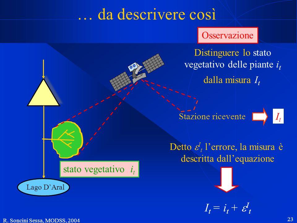 R. Soncini Sessa, MODSS, 2004 23 … da descrivere così ItIt Distinguere lo stato vegetativo delle piante i t I t = i t + I t Lago DAral stato vegetativ