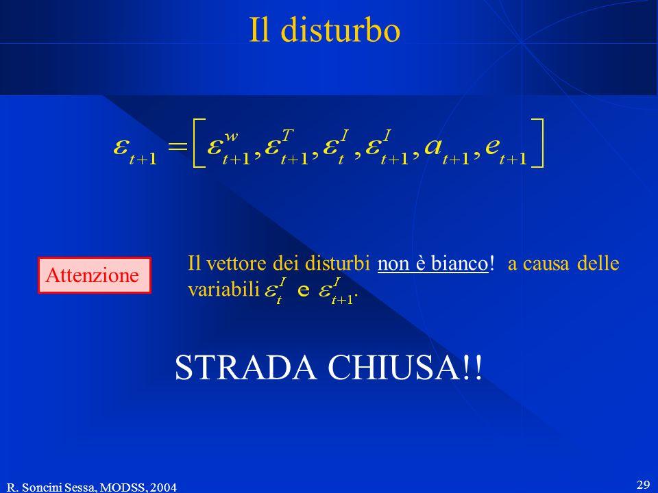 R. Soncini Sessa, MODSS, 2004 29 Il disturbo STRADA CHIUSA!! Attenzione Il vettore dei disturbi non è bianco! a causa delle variabili.