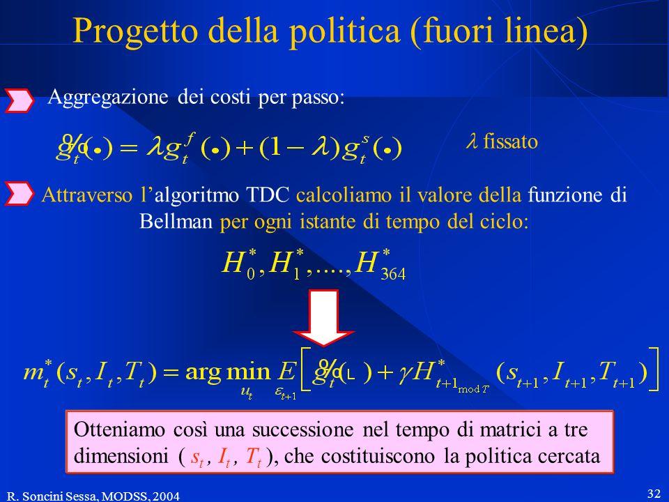 R. Soncini Sessa, MODSS, 2004 32 Progetto della politica (fuori linea) Attraverso lalgoritmo TDC calcoliamo il valore della funzione di Bellman per og
