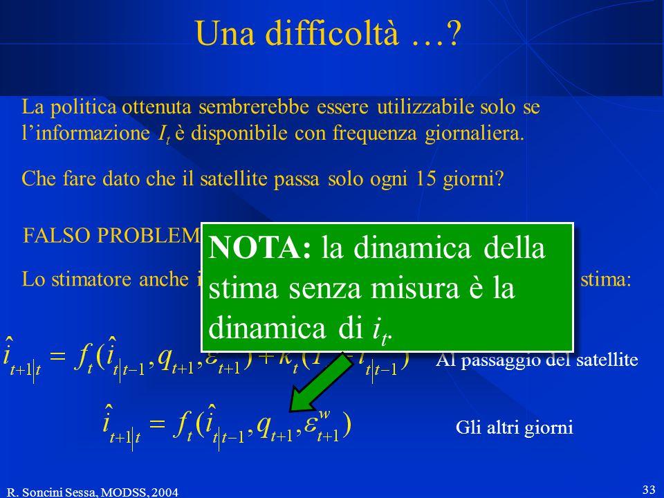 R. Soncini Sessa, MODSS, 2004 33 Una difficoltà …? La politica ottenuta sembrerebbe essere utilizzabile solo se linformazione I t è disponibile con fr