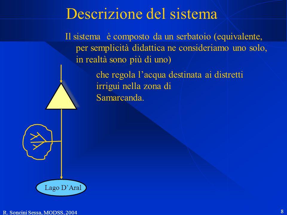 R. Soncini Sessa, MODSS, 2004 8 Descrizione del sistema Lago DAral Il sistema è composto da un serbatoio (equivalente, per semplicità didattica ne con