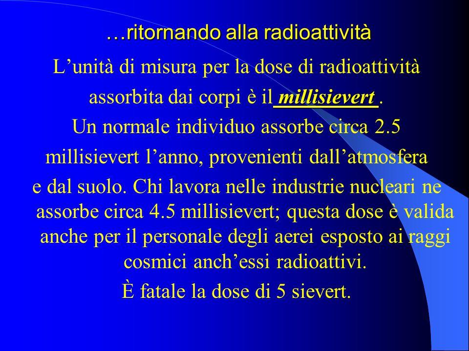 …ritornando alla radioattività Lunità di misura per la dose di radioattività millisievert assorbita dai corpi è il millisievert.