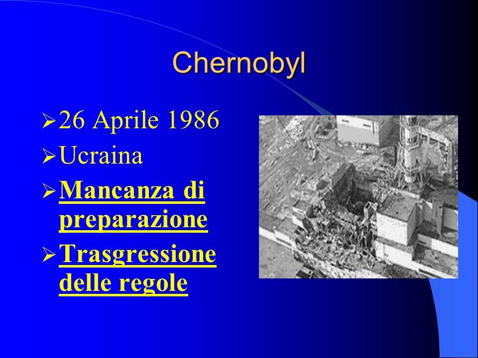 Chernobyl 26 Aprile 1986 Ucraina Mancanza di preparazione Trasgressione delle regole