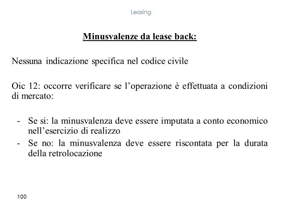 100 Minusvalenze da lease back: Nessuna indicazione specifica nel codice civile Oic 12: occorre verificare se loperazione è effettuata a condizioni di