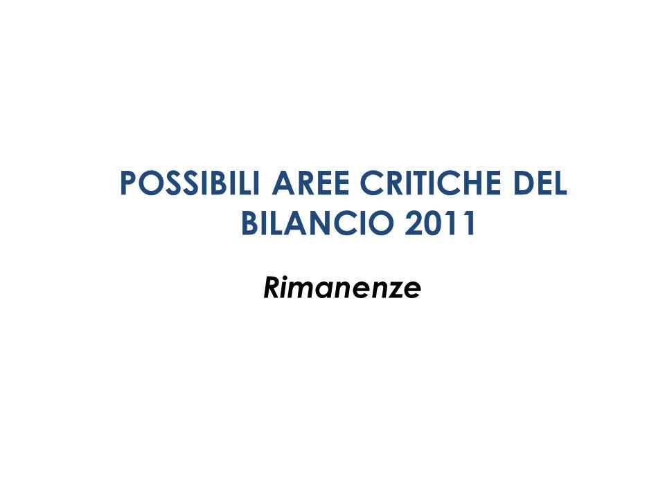 POSSIBILI AREE CRITICHE DEL BILANCIO 2011 Rimanenze