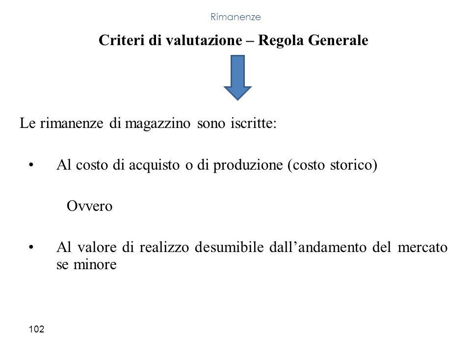 102 Criteri di valutazione – Regola Generale Le rimanenze di magazzino sono iscritte: Al costo di acquisto o di produzione (costo storico) Ovvero Al v