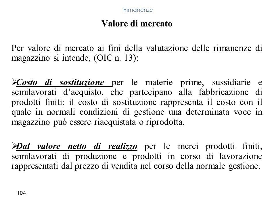 104 Valore di mercato Per valore di mercato ai fini della valutazione delle rimanenze di magazzino si intende, (OIC n. 13): Costo di sostituzione per