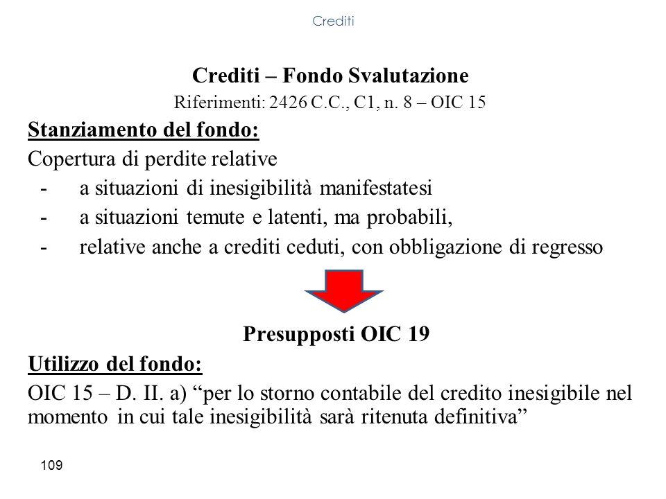 109 Crediti – Fondo Svalutazione Riferimenti: 2426 C.C., C1, n. 8 – OIC 15 Stanziamento del fondo: Copertura di perdite relative -a situazioni di ines