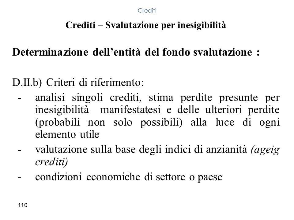 110 Crediti – Svalutazione per inesigibilità Determinazione dellentità del fondo svalutazione : D.II.b) Criteri di riferimento: -analisi singoli credi