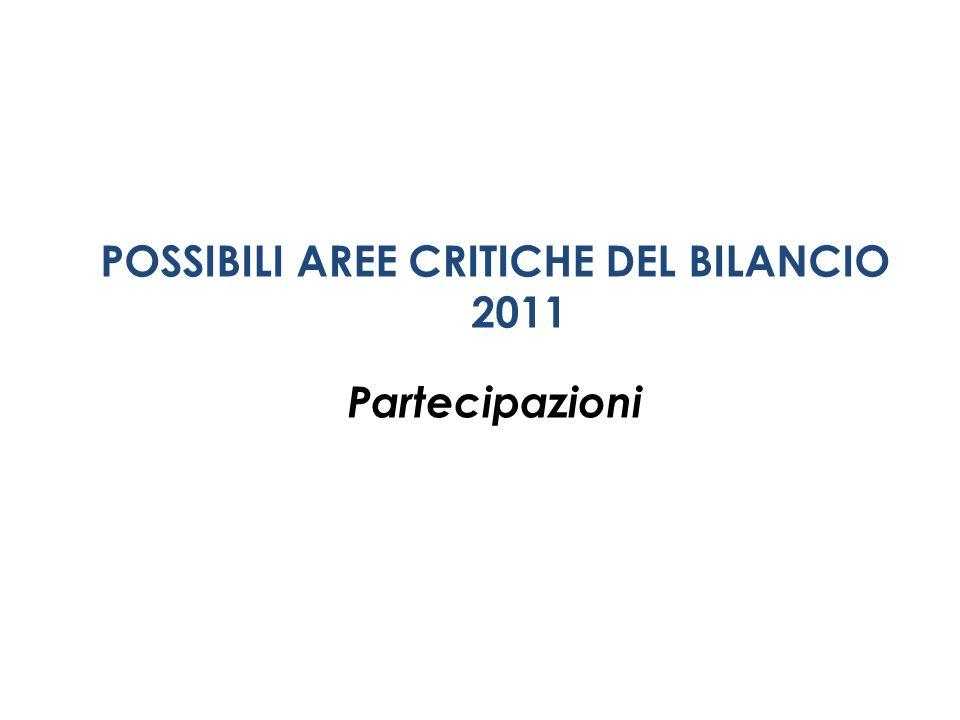 POSSIBILI AREE CRITICHE DEL BILANCIO 2011 Partecipazioni