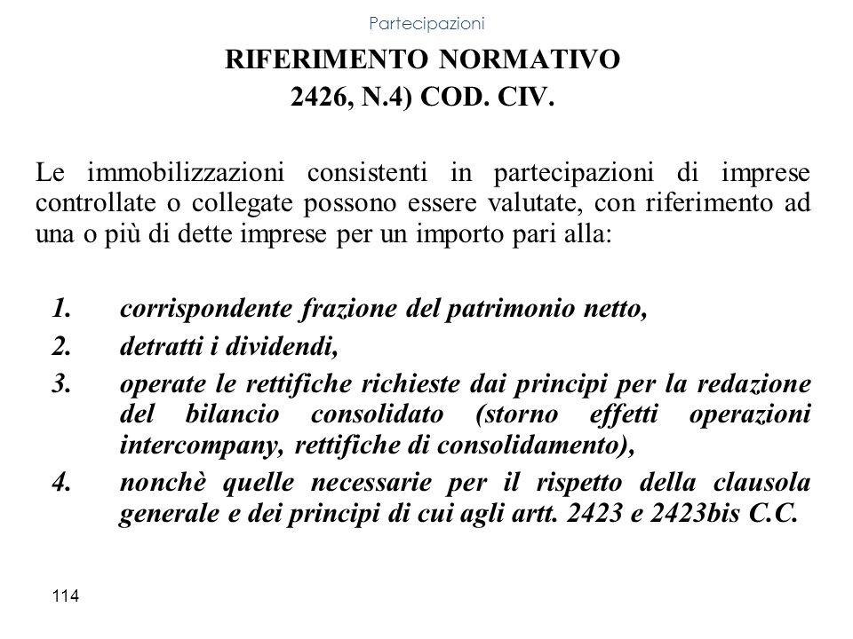 114 RIFERIMENTO NORMATIVO 2426, N.4) COD. CIV. Le immobilizzazioni consistenti in partecipazioni di imprese controllate o collegate possono essere val