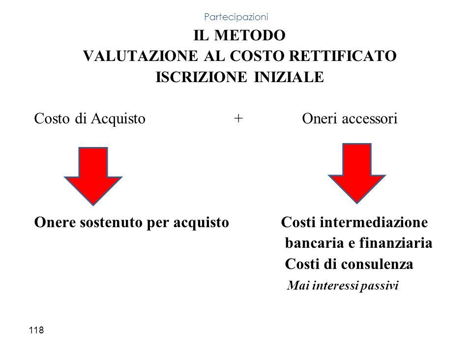 118 IL METODO VALUTAZIONE AL COSTO RETTIFICATO ISCRIZIONE INIZIALE Costo di Acquisto + Oneri accessori Onere sostenuto per acquisto Costi intermediazi